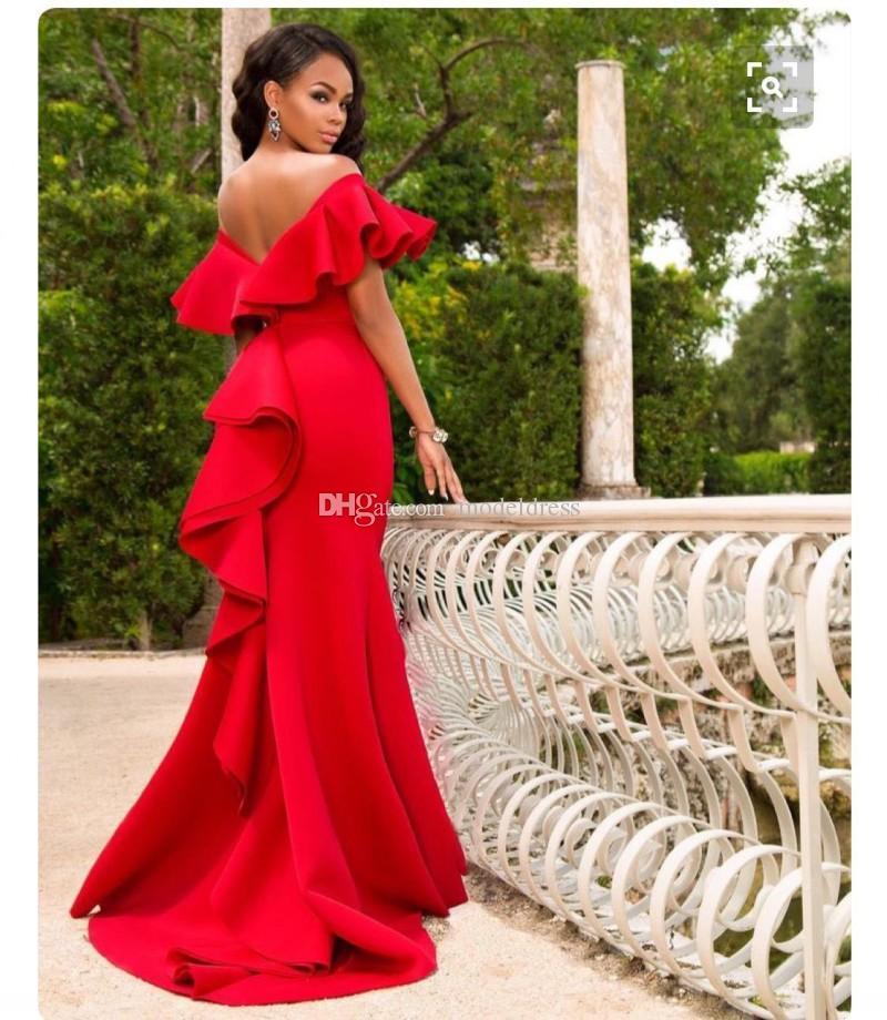 2019 Unique Design Rouge Robes De Soirée Hors Épaule Plis Sirène Balayage Train Arabric Prom Party Tapis Rouge Robes Vestidos Pas Cher Personnalisé