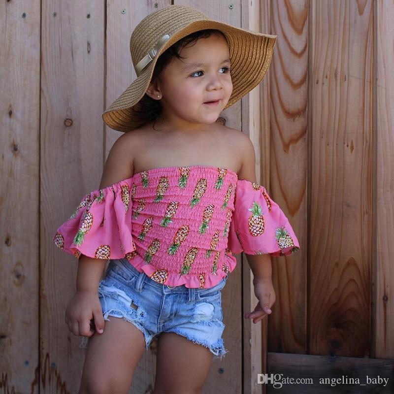 2018 Nouveau Bébé Filles Mode Ensemble Ananas Imprimé Tops Chemise + Short En Jean Tenues Vêtements Pour Enfants Mignon D'été Bébé Filles Vêtements Ensemble