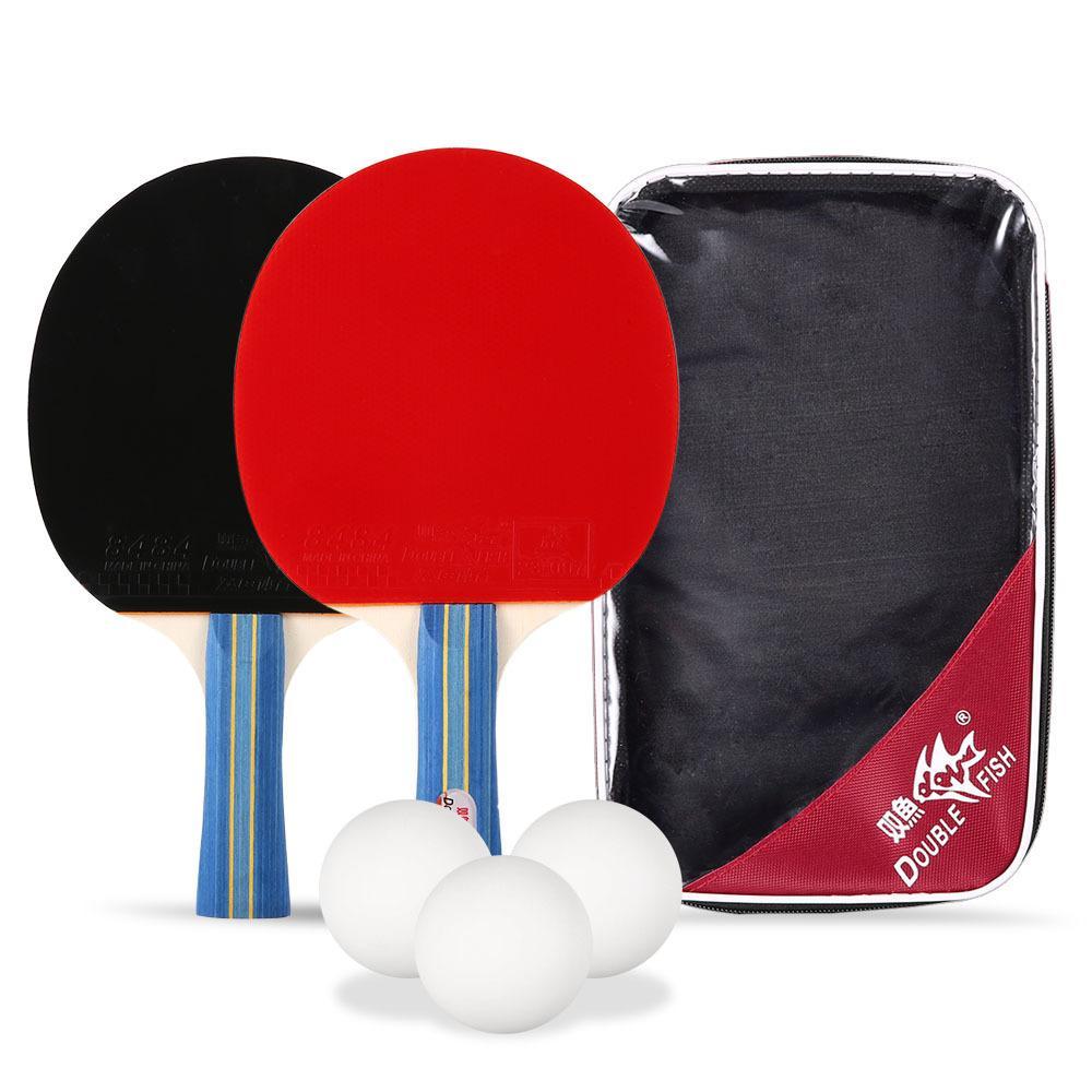 78b2a1b2d Compre 2018 Duplo Peixe Raquete De Tênis De Mesa Dupla Face Longa   Curta  Lidar Com Pás De Raquete De Ping Pong E 3 Ping Pong Bolas Com Saco De  Transporte ...