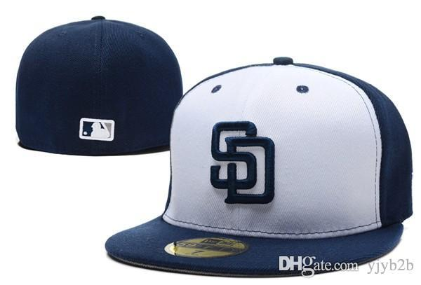 Yjyb2b Hotselling Padres Fitted Baseball Hats In Blue White Color ... 12ec659abc0c