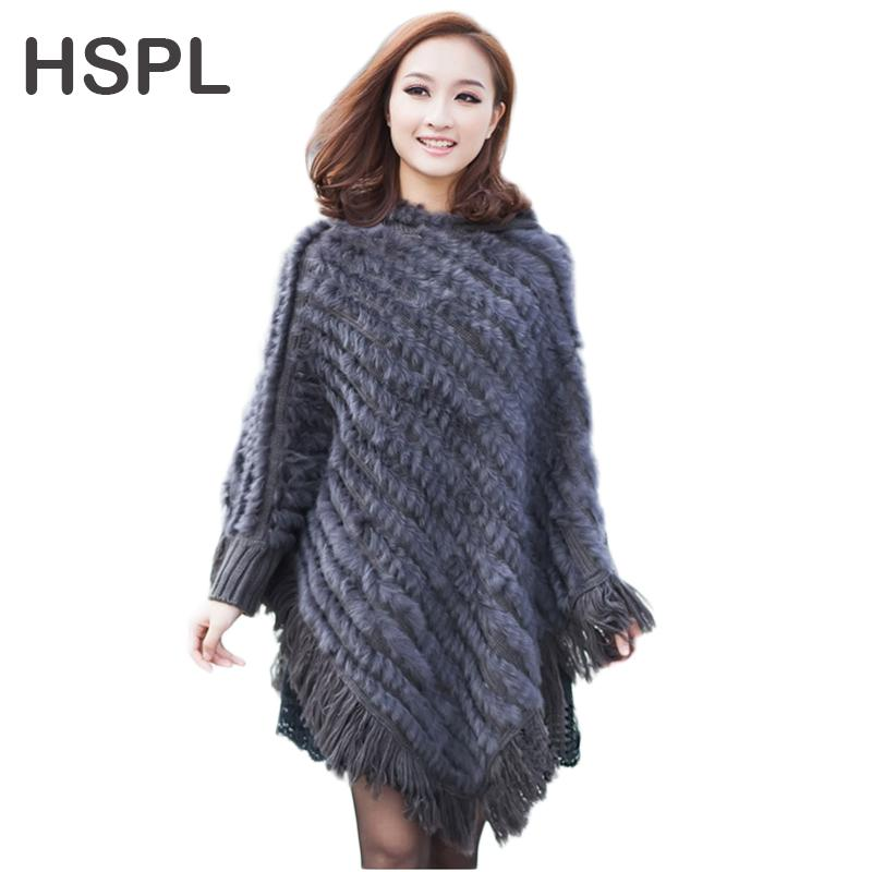 Online Cheap Hspl Real Rabbit Fur Knitted Poncho 2017 Hot Sale Large ...