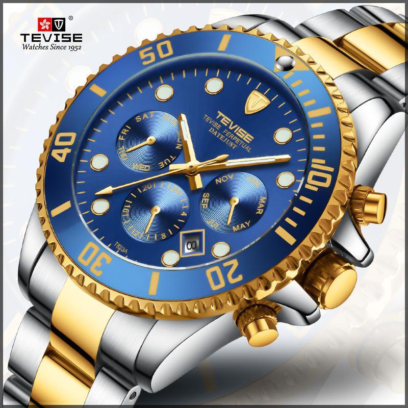 b56bad73461 Hot TEVISE Watch Men Luxury Automatic Mechanical Mens Wristwatch Stainless  Steel Waterproof Military Watch Relogio Masculino D18100706 Swiss Watch  Vintage ...