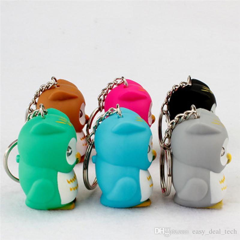 Color Random Cute Owl Led Key Chain Torch Make Sound And Light Cartoon Owl Key Rings Gift Kid Toys