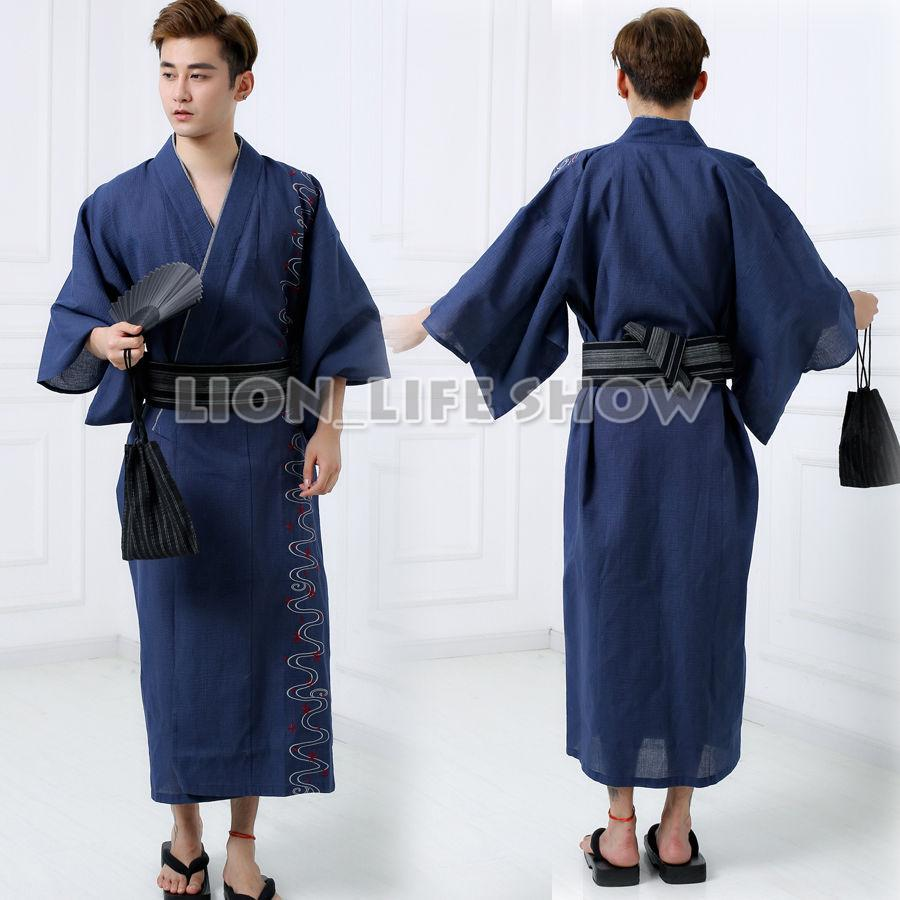 2019 Japanese Men Samurai Yukata Kimono Hot Spring Winter Pajamas Sleepwear  Bathrobe Costume Without Obi From Mujing 27f5f25c3