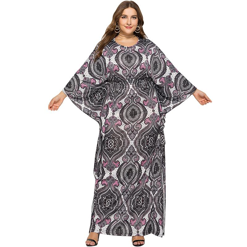 e4bd5af05e Ethnic Women Plus Size Dress Paisley Print Batwing Sleeve Elastic High Waist  Maxi Dress Casual One Piece Vestido De Festa Longo Prom Gowns Cute Dresses  For ...