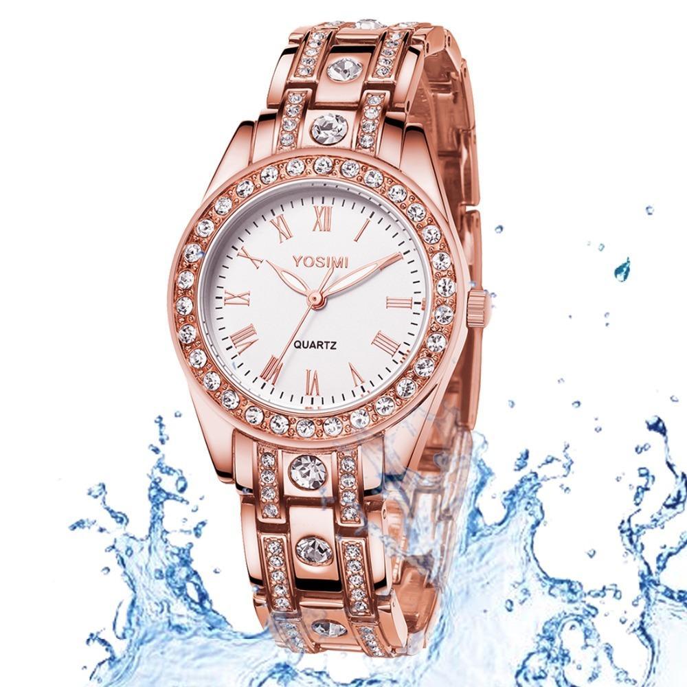 9747d725775c Compre Reloj Para Mujer Diamante De Oro Rosa Reloj De Cuarzo De Acero  Inoxidable Para Mujer Regalo De Cumpleaños De Lujo Elegante Para Mujer  Romántico ...
