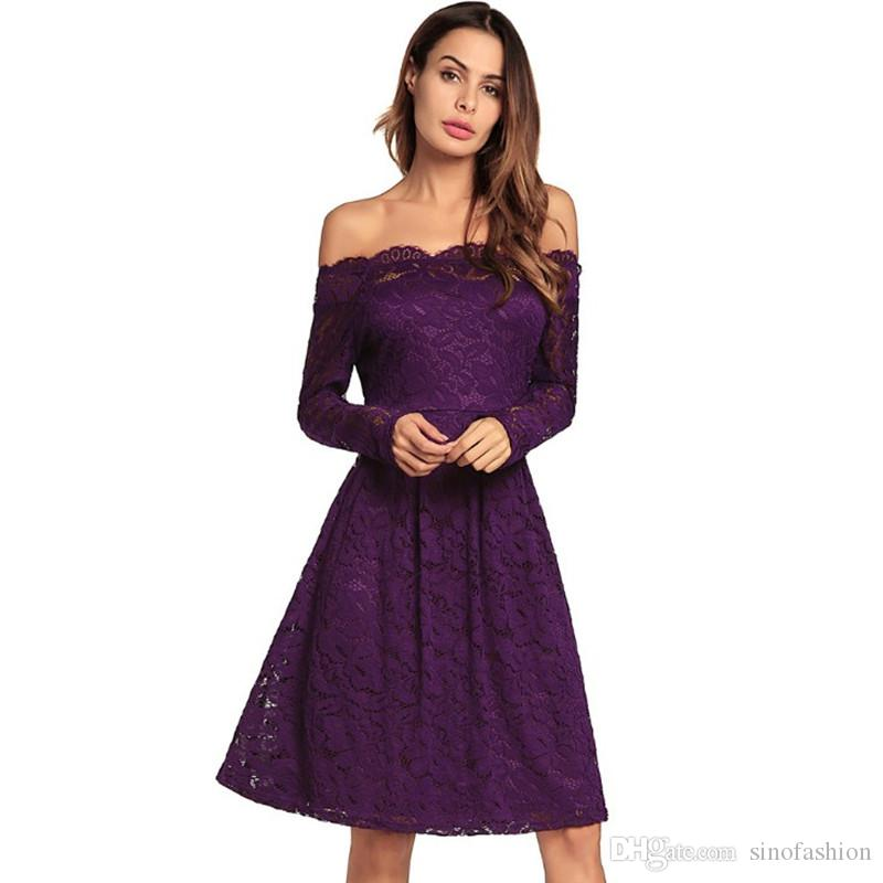 35e2b62ca83 Women Summer Party Dresses Vintage Casual Dresses Slash Neck Long ...