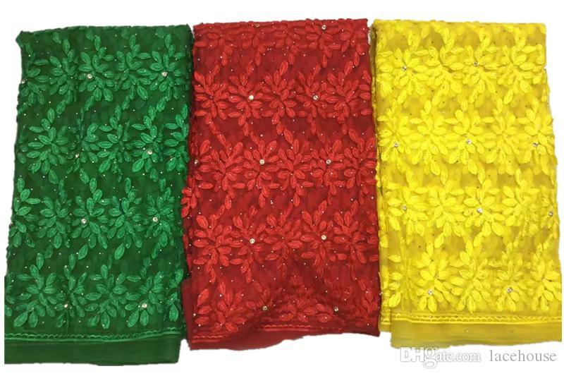 Tessuto di pizzo francese di alta qualità tulle tessuto di pizzo netto abito da festa da sposa ricamo tessuto di pizzo voile con pietre
