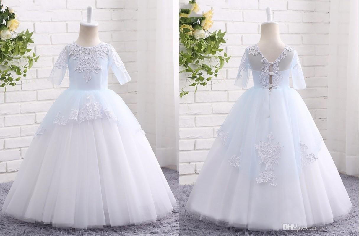 Cute Light Blue And White Cheap Flower Girls Dresses Applique Ball