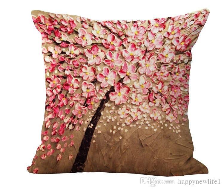 وسادة غطاء خمر زهرة وسادة القضية جدارية الأصفر الأحمر شجرة wintersweet إزهار الكرز ديكور المنزل رمي سادة غطاء