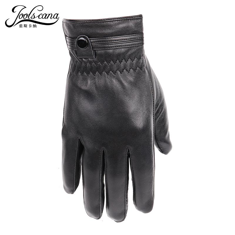 JOOLSCANA leather gloves for men winter autumn fashion Sensory gloves drive outerdoor natural lamb sheepskin wrist with button