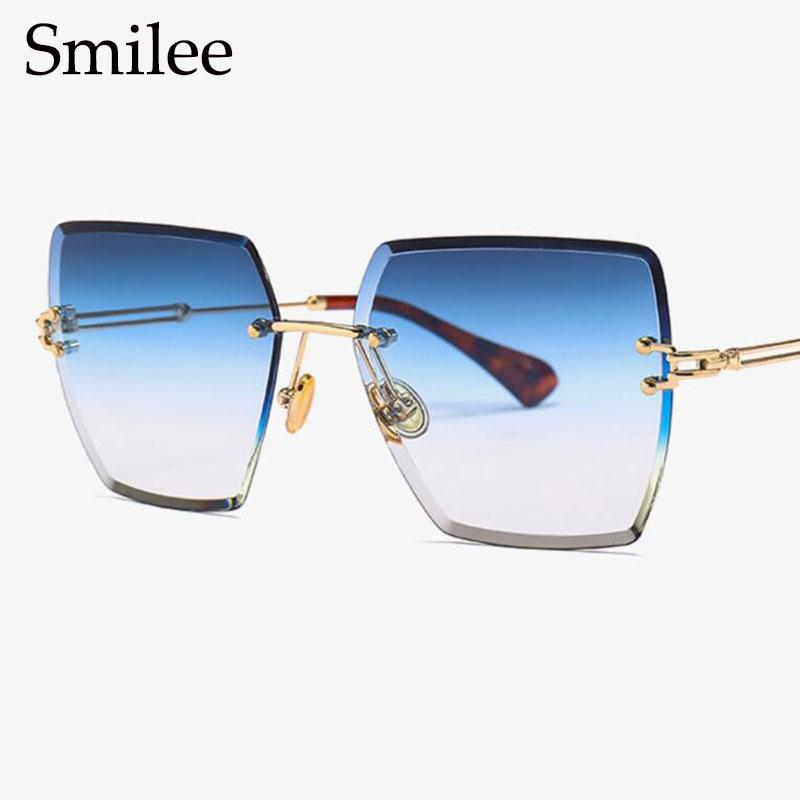120cdef6a36 Gradient Blue Rimless Sunglasses Women Oversized Clear Lens Diamond Cutting  Square Sun Glasses Transparent Female Eyewear 2018 Mirror Sunglasses Boots  ...