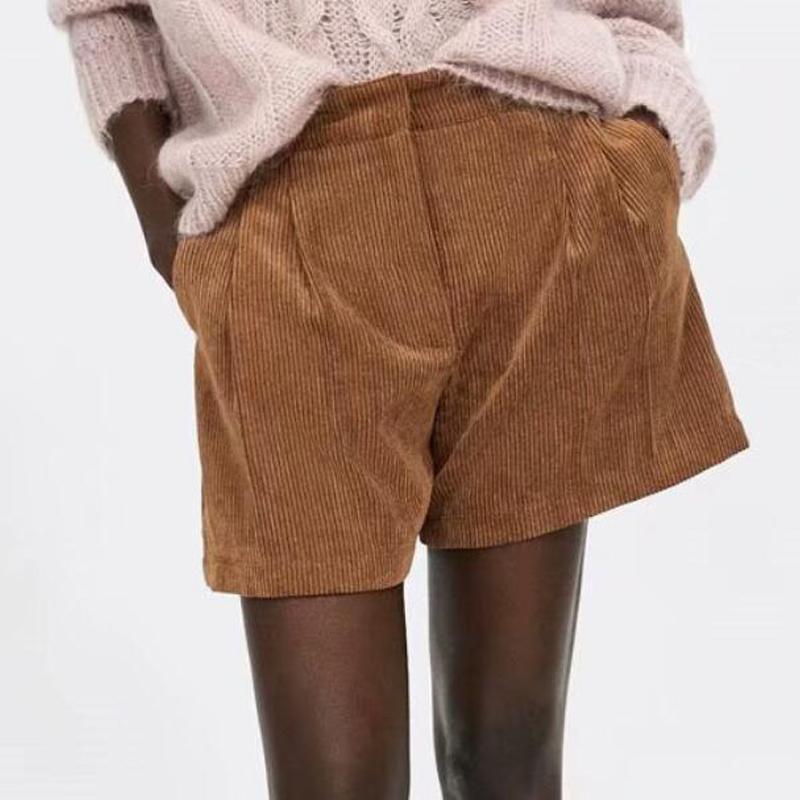 Color Invierno Sólido Grueso Fondo Mujeres Marrón Streetwear Shorts Corduroy 2018 Vintage Alta Casual Cintura Otoño OkXPn80w