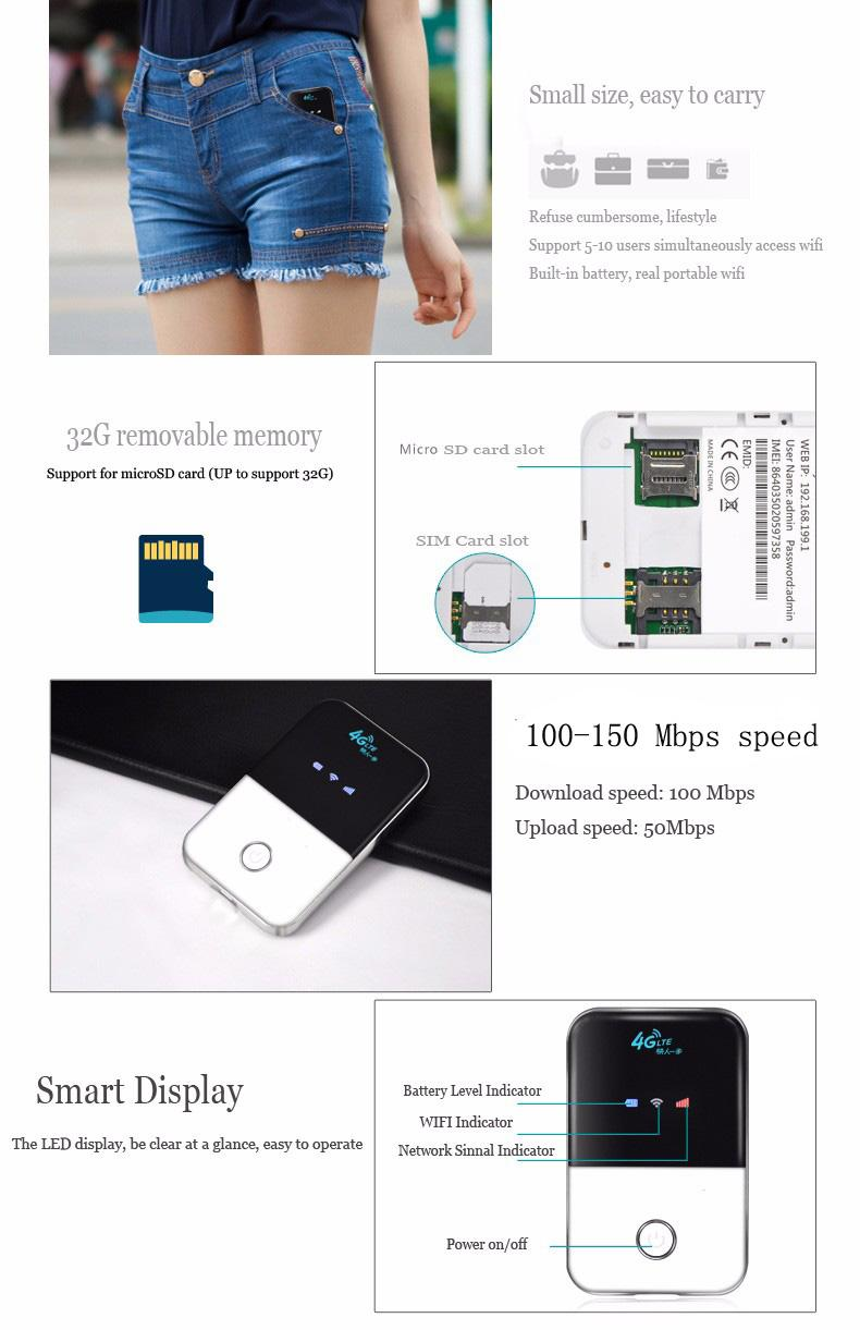 4G Wifi Router mini router 3G 4G Lte Wireless Portable Pocket wifi Mobile Hotspot Car Wi-fi Router With Sim Card Slot