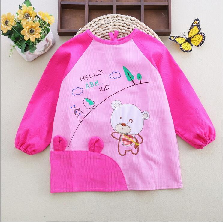 Child Aprons Children Baby Waterproof Long Sleeve Apron Eating Smock