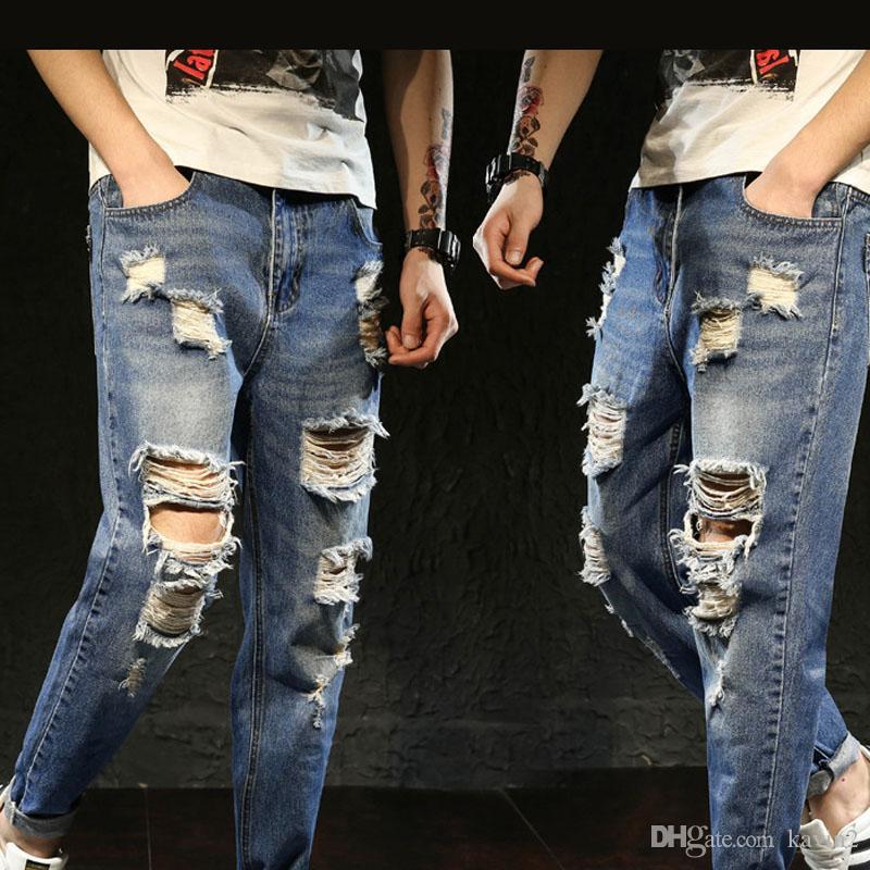 528b051140b 2019 High Quality 2018 Fashion Summer Fashion Leisure Hip Hop Casual Man  Ripped Hole High Street Beggar Jeans Men S Trousers From Kavin2