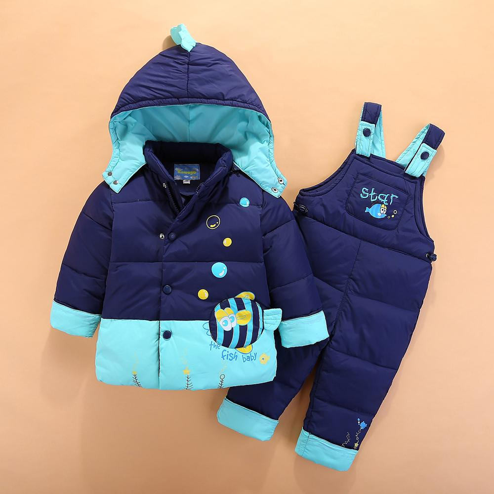 9266df822 Russian Winter Children'S Clothing Set Overalls For Baby Girls Boys Down  Coat Warm Snowsuits Jackets+Bib Pants Sets 1 4Yrs Y18102607 Toddler Down  Jacket ...