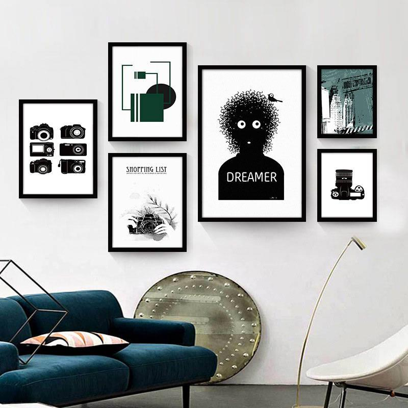Vintage Retro Camera Print Canvas Painting Black White Fashion Hipster Wall  Poster Cafe Office decoracion Art Picture No frame