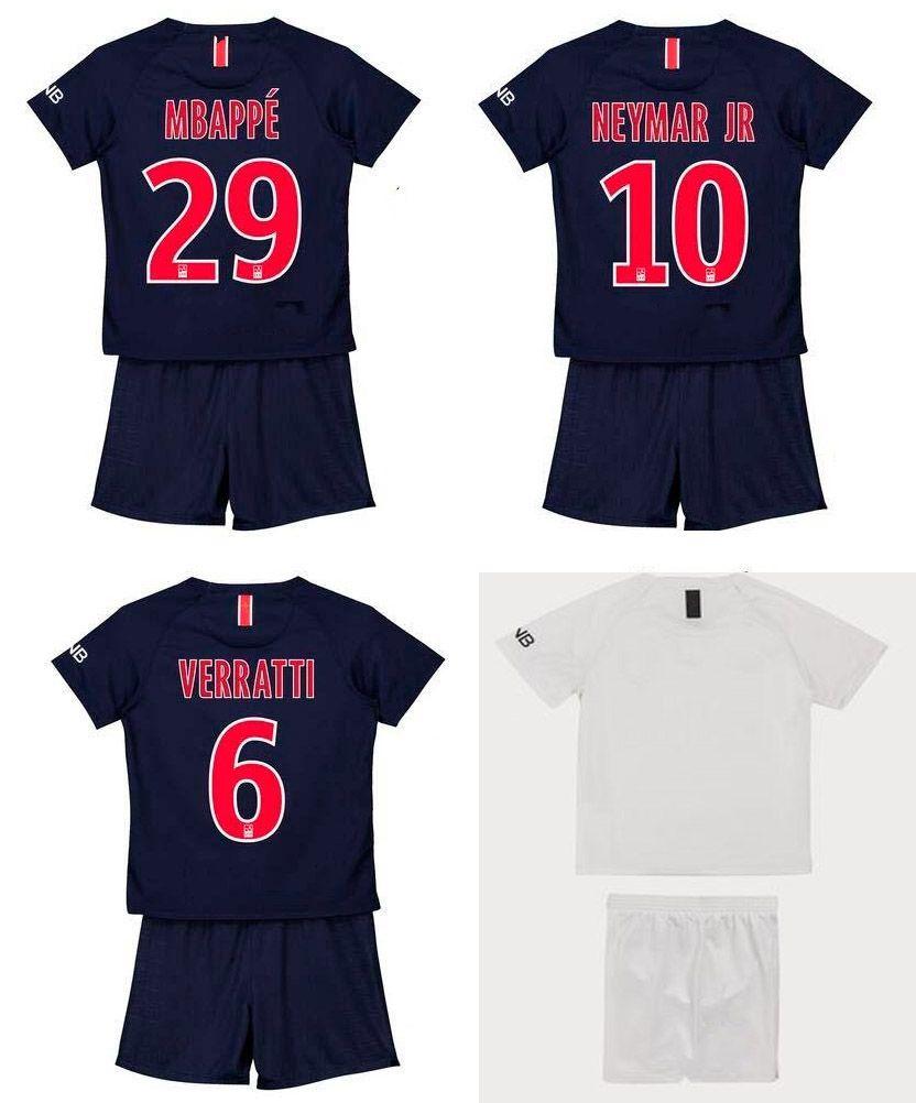 f244e5316d3 2019 18 19 Kids Soccer Jersey Short Neymar JR Mbappe VERRATTI CAVANI DI  MARIA DANI ALVES Football Set Boys Outdoor Sports Kits Camiseta De Futbol  From ...