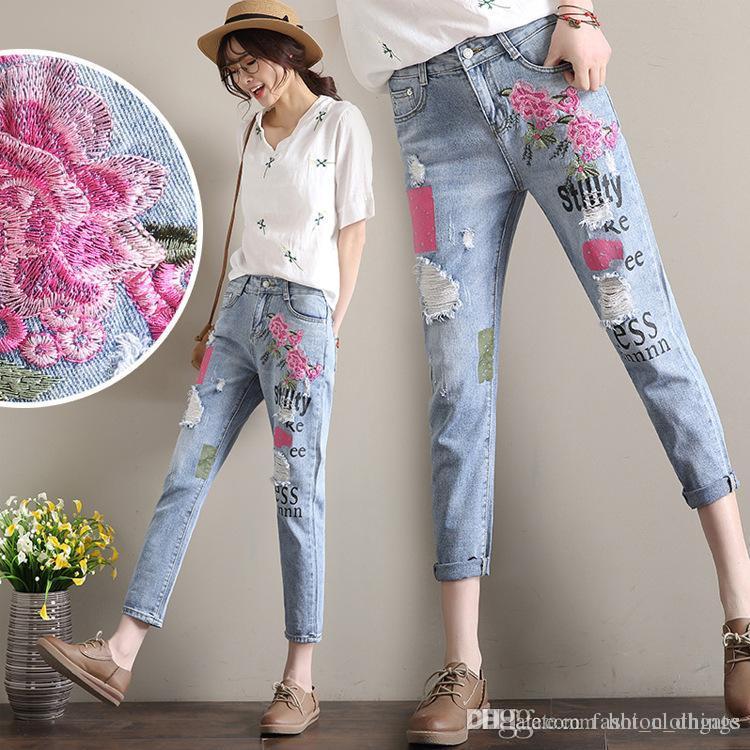 Femme Femmes Harajuku Pantalon Impression Avec Fille Sarouel Pantalons Broderie Fleurs Boyfriend Pour Jeans Stretch De Déchiré xBeQdWCor