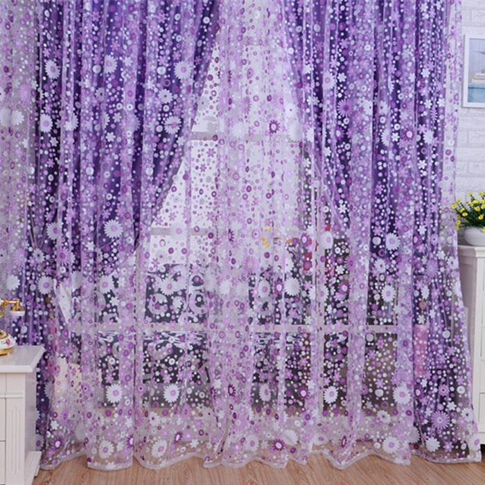 Großhandel Dekorative Gardinen 2019 Print Floral Voile Tür Sheer