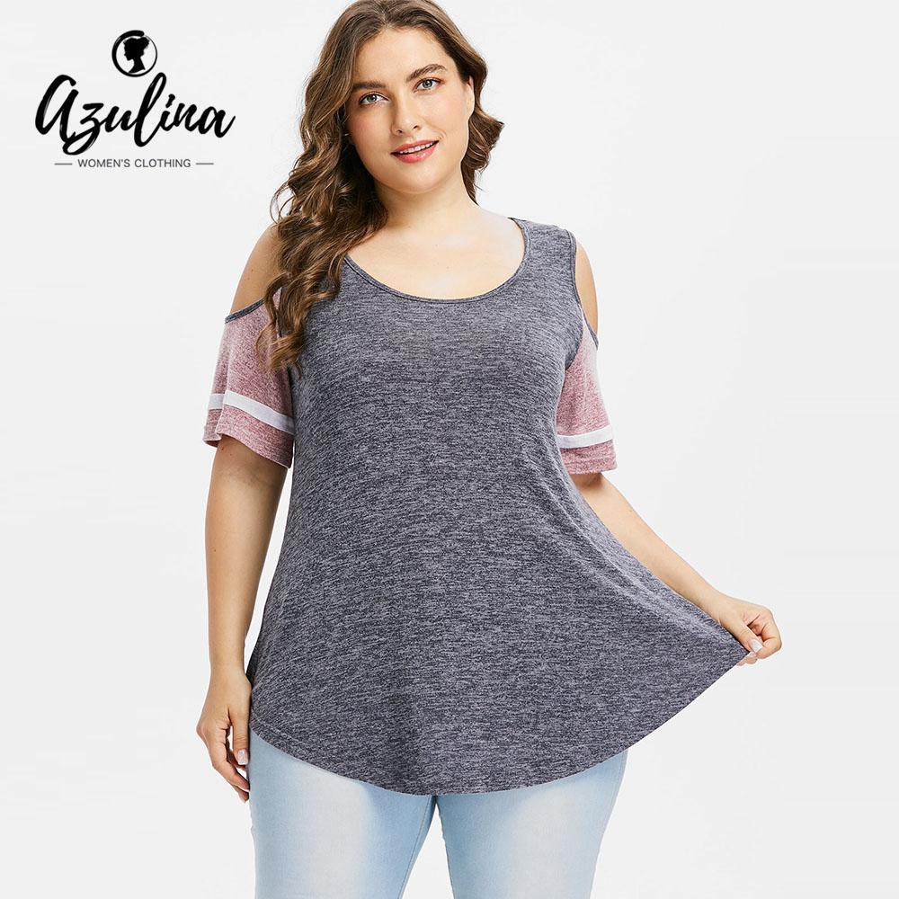 3362ff2f7b23 AZULINA Plus Size 5XL Color Block Swing T Shirt Women T Shirt Summer Square  Neck Half Sleeve Top Causal Shirt Tee Big Size Tops Coolest Shirts Funny T  Shirt ...