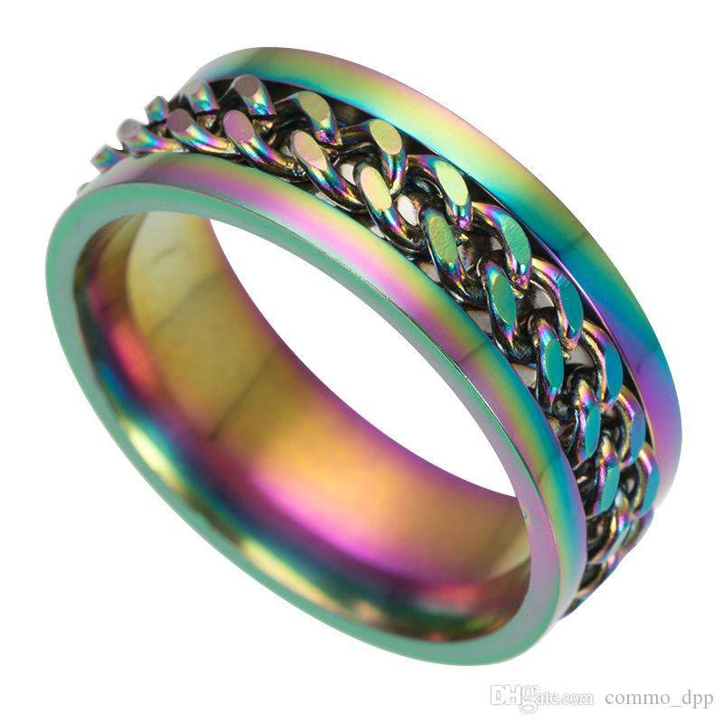 es Anillos de los hombres de acero inoxidable High-End Boutique Gold Black Cadenas de plata Anillo de dedo giratorio para las mujeres Joyería de moda