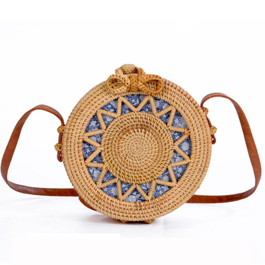 3a641d5eb9 Handmade Woven Rattan Bag Women Straw Bag Bamboo Circular Beach Bags Summer  Bali Bohemian Knitting Shoulder Bags Embroidery Tote Evening Bags Leather  Goods ...