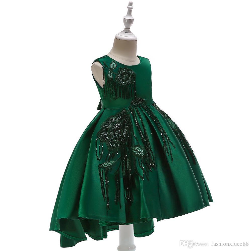 9b13b013bc06 2019 NEW Baby Princess Flower Girl Dress Lace Appliques Wedding Prom ...