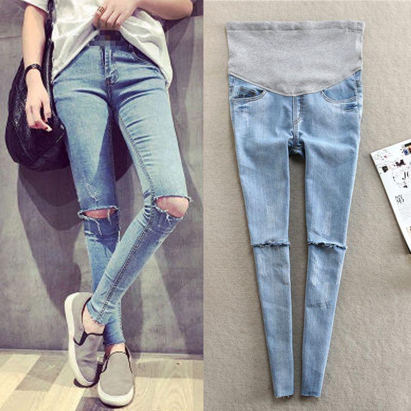 c28e4f9c6c10c Jeans Maternity Pants for Pregnant Women Clothes Trousers Nursing Prop Belly  Legging Holes Pregnancy Clothing Leggings Pantolon Jeans Cheap Jeans Jeans  ...
