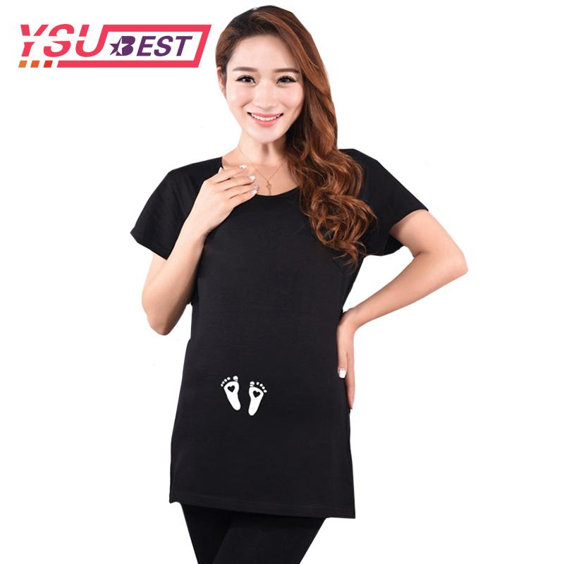 cfd4bdba 2019 2018 Maternity Tops For Pregnant Women Short Sleeve Pregnant T Shirt  With Baby Lovely Feet Print Tees Funny Pregnancy T Shirts From  Breadfruiter, ...