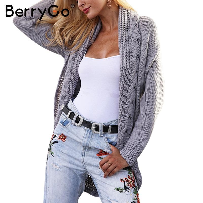 f81db488492449 BerryGo Lässiger Winter gestrickter Cardigan Pullover Frauen grauer loser  Sweater Cardigan Weiblicher Herbst weißer Pullover Strickjacke