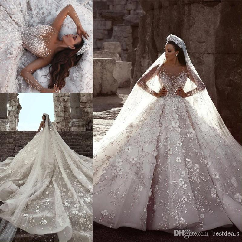 f8c28a5d83c0b Dubai Arabic Luxury Ball Gown Wedding Dresses 2019 Illusion Long Sleeves  Flowers Full Beading Crystal Cathedral Train Bridal Gowns