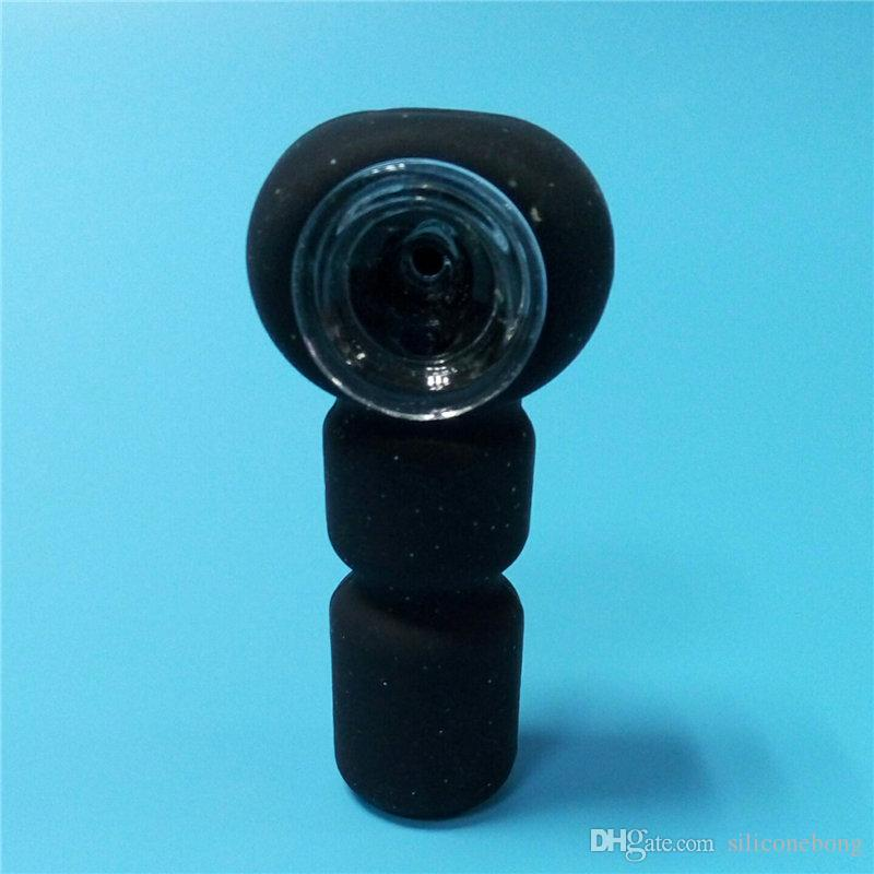 small bong with wholesale cheap price small silicone style bong Glitter Black colors water pipe with Glass Bowl