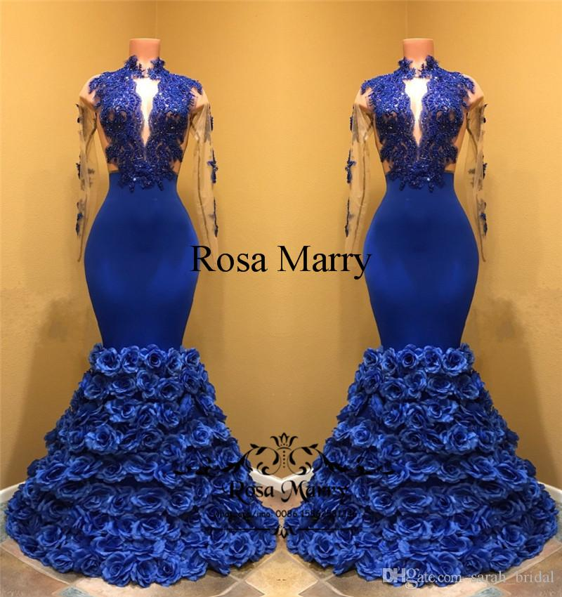 Sexy Royal Blue Mermaid 2K18 Prom Dresses Hand Made Flowers 2018 High Neck  Long Sleeves Lace Plus Size Black Girls African Evening Gowns Prom Dress  Sales ... 9a6b94fe5520