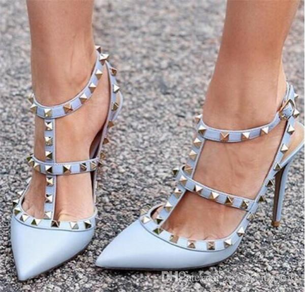 3ddb178d2a Fashion Black Pink Red Nude Pumps Pointed Toe T Strap Stiletto Heels Shoes  Studded Rivets Women High Heels Party Dress Sandals Geox Shoes Dress Shoes  For ...
