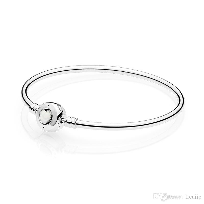 100 Real Silver Womens Bangle White Enamel Heart Bracelet With