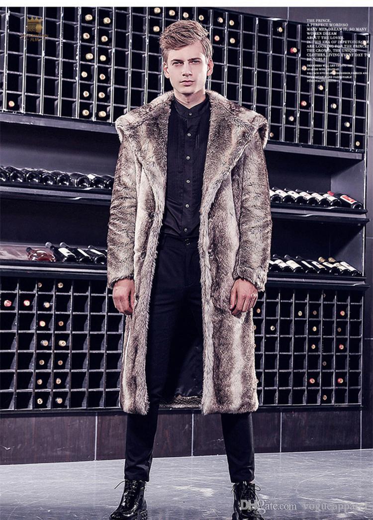 new arrive 2f867 6254d La lunghezza lunga degli uomini fa i cappotti di pelliccia di Brown gli  uomini pesanti pesanti di modo di inverno dell uomo dei parka Trasporto  libero