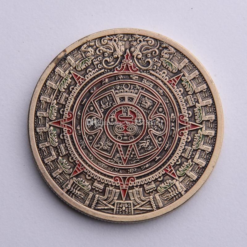 Mexico Aztec Maya Point Lacquer Bronze Commemorative Coin Maya Sundial  Pyramid Lucky Medal