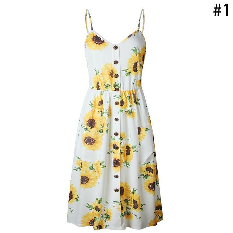 b9680ee1e216 Summer Dress Women V Neck Pockets Sleeveless Midi Dresses Boho Floral Print  Female Sunflower Pleated Backless Button Sexy Dress Grey Party Dress Blue  Lace ...