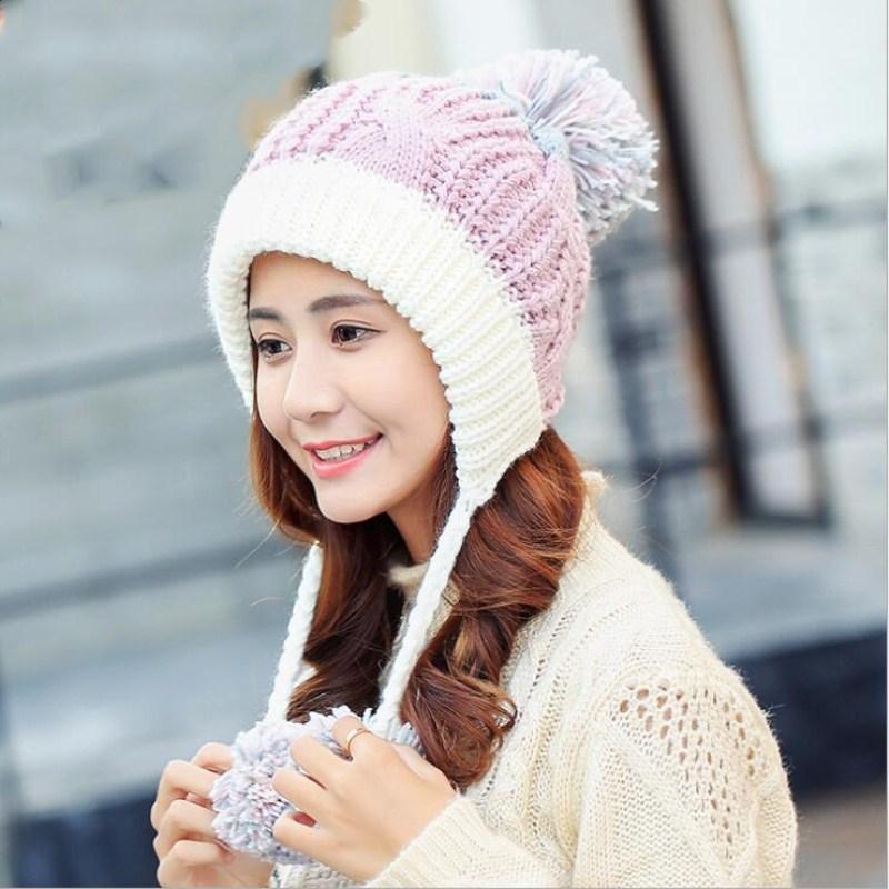 Seioum Simple Rabbit Hair Winter Hat Female Autumn And Winter Fashion Women S  Female Toe Cap New Big Pompom Warm Girls Knit Hat Baby Hat Crochet Baby Hats  ... 8a38feda1