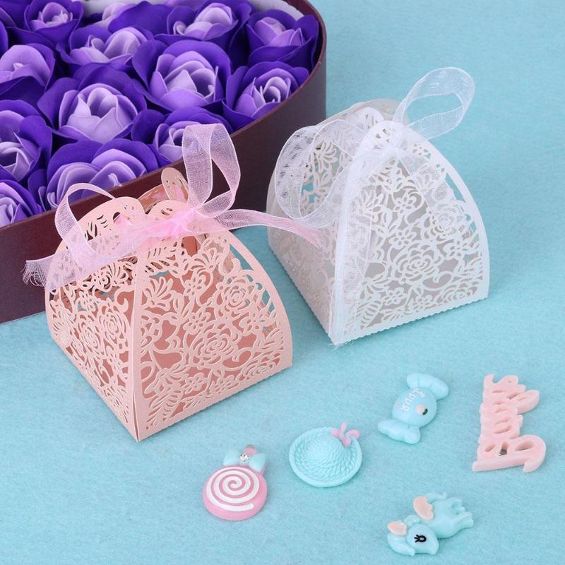 10paper gift box laser cut hollow flower candy boxes christmas wedding birthday party guest gifts packing supplies pink christmas wrapping paper pink gift