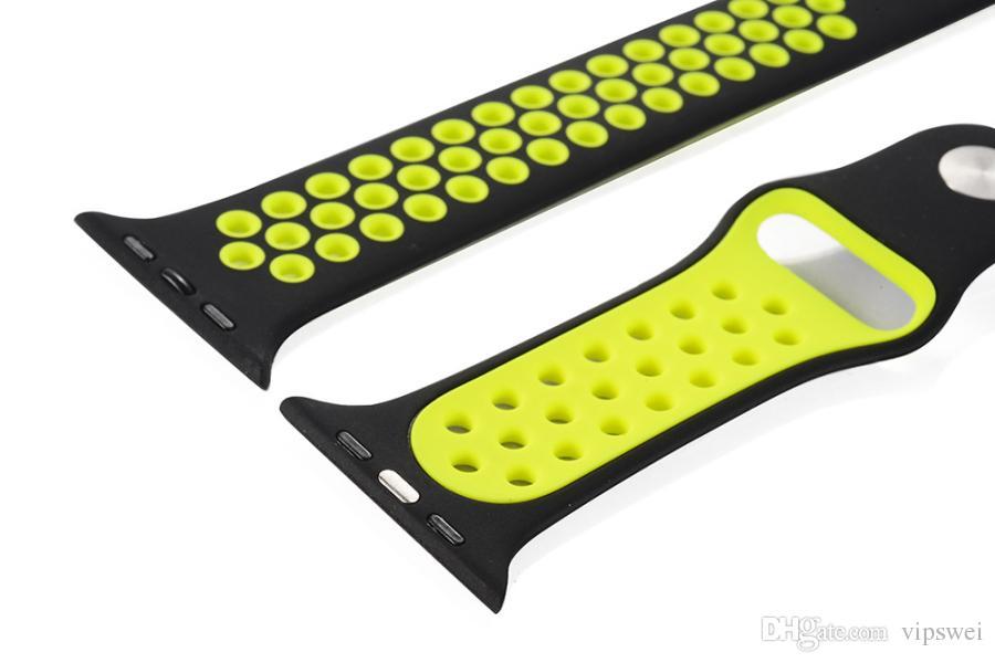 Smart Watch Bands nk Loch Loops Bands Ersatz Zwei Farbe Silikon-Armband am Handgelenk Sport-Band-Bügel für Apple-Uhr-Serie All Universal-