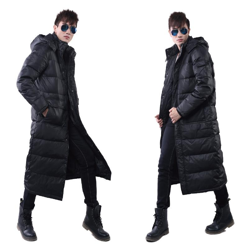 548e43066 Winter Men s Thick 90%Duck Down Jacket Long Puffer Warm Coat Hooded Full  Length Black Parkas