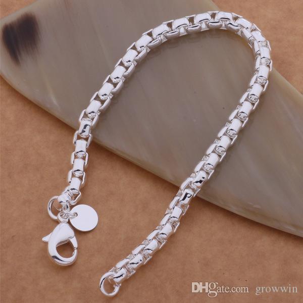 Braccialetto placcato argento 925 del braccialetto della catena della scatola del nuovo di stile coreano retrò argento trasversale libero D0353