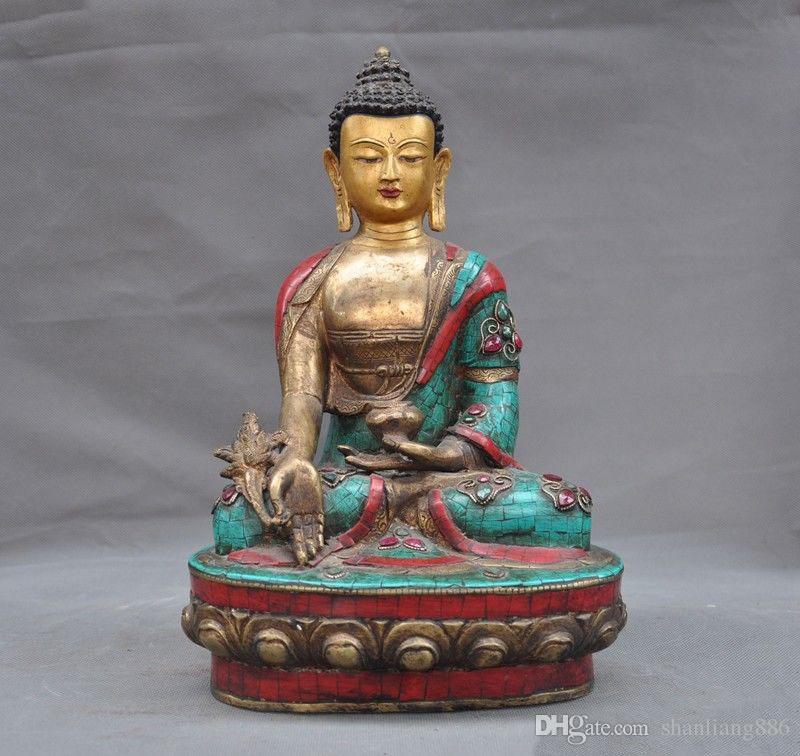 Tibet Tantric Bronze Inlay Turquoise Red Coral Gem Sleep Sakyamuni Buddha Statue Fashionable In Style;