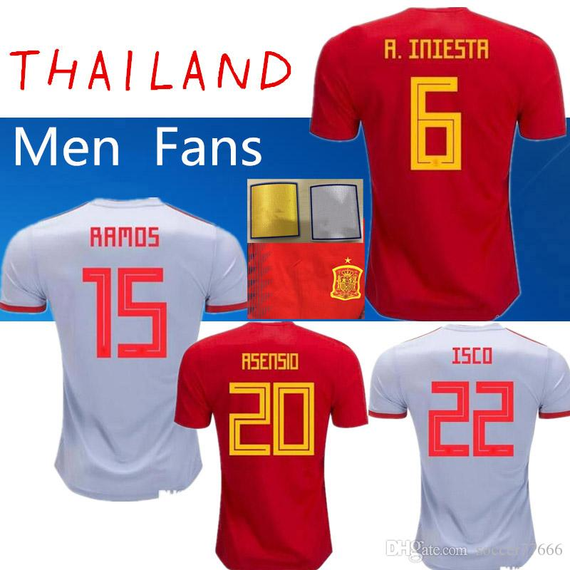 AAA 2018 España Camiseta De Fútbol   7 MORATA   6 A.INIESTA   22 ISCO   20  M.ASENSIO   15 RAMOS   21 SILVA Camiseta De Calidad Mundial 2018 Camiseta  España ... ed457b5b2a763