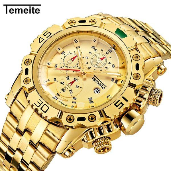 1fafc4fb2b7 Compre Temeite Luxo Relógio De Ouro Dos Homens De Aço Inoxidável De Quartzo  Mens Relógios Grande Moda Casual Relógio De Pulso Calendário Masculino  Relogio ...