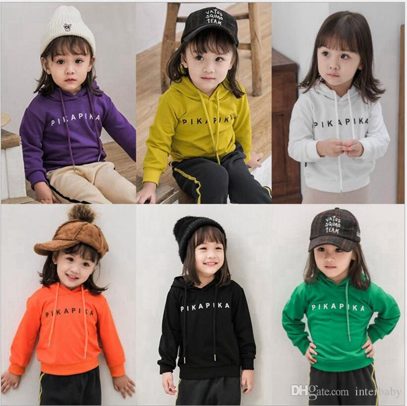 4b8681695e9 2019 Kids Hoodies Baby Girls Letter Print Tops Boys Solid Hooded Shirt Long  Sleeved Brushed Pullover Clothes Designer Autumn Clothing YL611 From  Interbaby