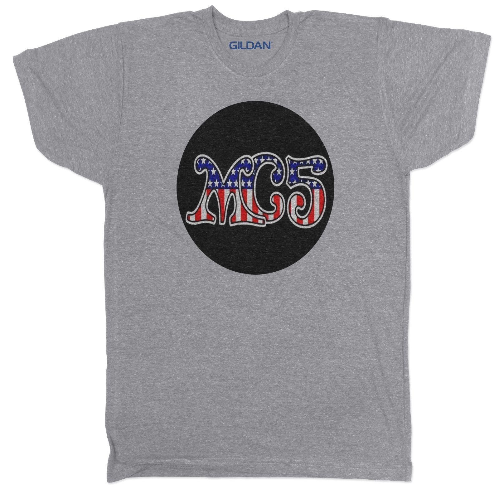 f97696858c Compre O MC5 Inspirado Banda Música Concert Rock Indie Mens Gang Tumblr  CINZA T Camisa 100% De Algodão De Manga Curta O Pescoço T Camisa Dos Homens T  Shirt ...